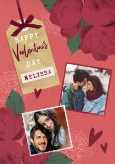 Romantic Flowers Happy Valentine's Photo Card