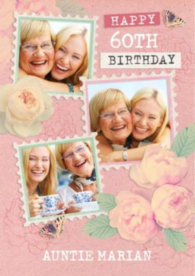 Floral 60th Birthday Photo Upload Card For Auntie