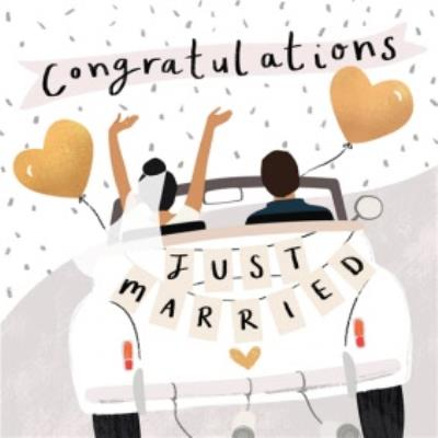 Congratulations Just Married Illustrated Wedding Card