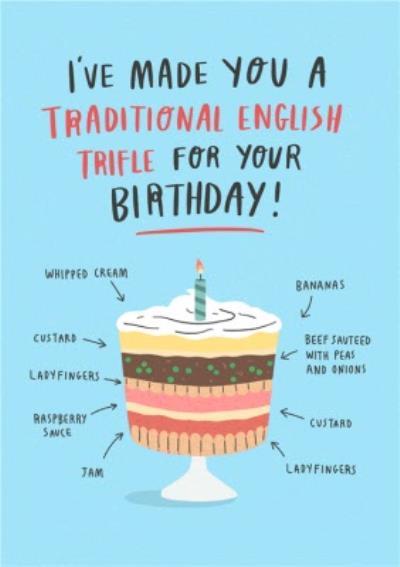 Funny Traditional English Trifle Beef Custard Jam Birthday Card