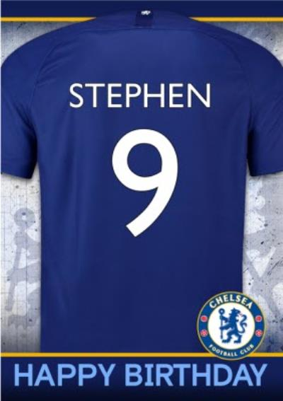 Chelsea FC Birthday Card - Name and number on jersey