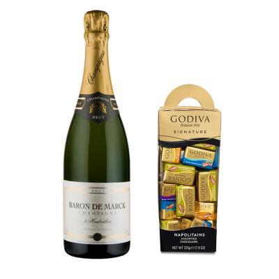 Baron De Marck Champagne and Godiva Neapolitan Collection