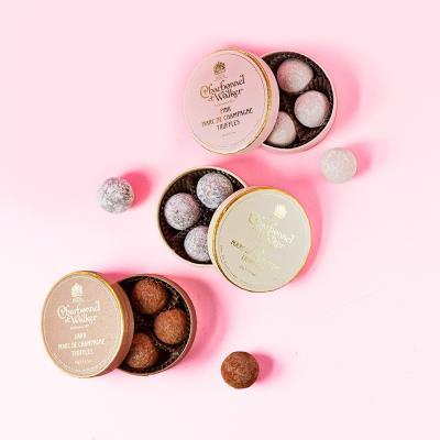 Charbonnel Et Walker Dark, Milk, and Pink Marc De Champagne Mini Truffle Trio Gift Set
