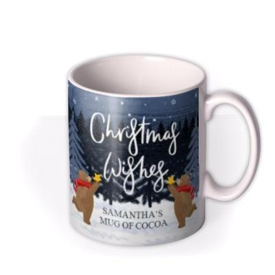 Traditional Christmas Mug Of Cocoa Featuring A Family Of Bears