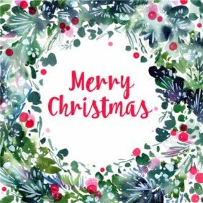Painted Wreath Merry Christmas Card