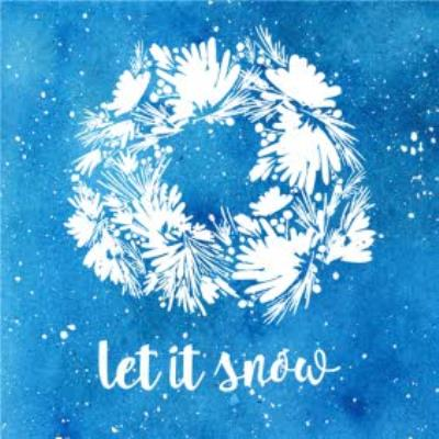 Painted Let It Snow White Wreath Christmas Card