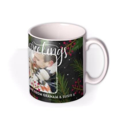 Season's Greetings Personalised Text and Photo Upload Mug