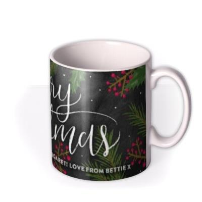 Merry Christmas Tree and Berry Personalised Text Mug