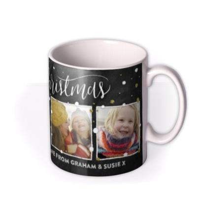 Merry Christmas Snow and Glitter Photo Upload Mug