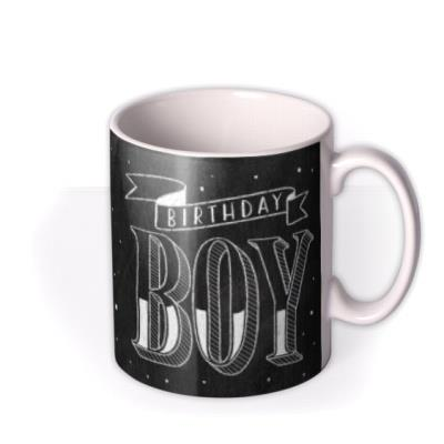 Happy Birthday Boy Chalkboard Photo Upload Mug