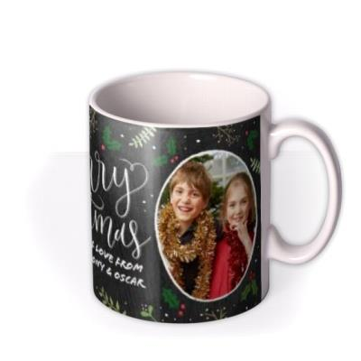 Merry Christmas Chalkboard Photo Upload Mug