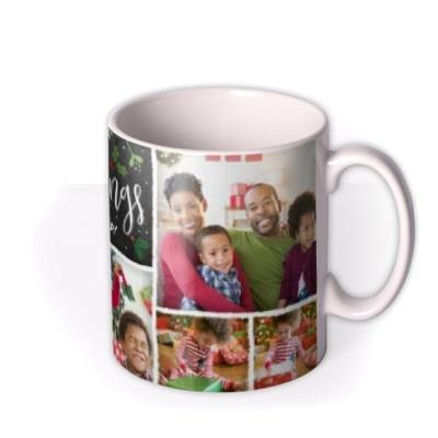 Merry Christmas Chalkboard Collage Photo Upload Mug