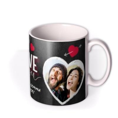Valentine's Day 2 Chalk Heart Photo Upload Mug