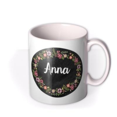 Floral mug - chalkboard mug