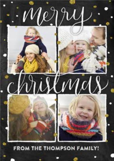Black And Gold Spots Photo Grid Personalised Christmas Card