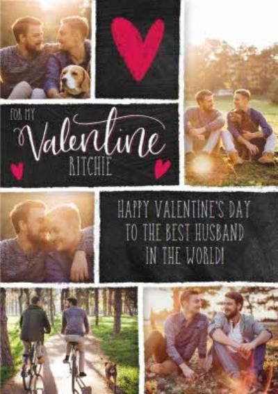 Chalkboard Style Personalised Multi Photo Upload Happy Valentine's Day Card For Husband