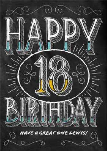 Chalkboard 18th birthday card
