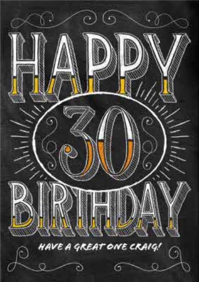 Chalkboard Style Personalised Happy 30th Birthday Card