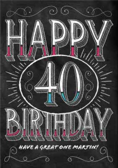 Classic Chalkboard Style Personalised Happy 40th Birthday Card