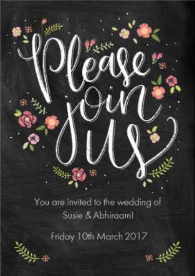 Chalkboard Style Please Join Us Personalised Wedding Invite Card