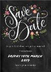 Black Floral Details Personalised Save The Date Card