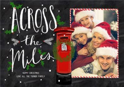Chalk Board Across The Miles Christmas Photo Card