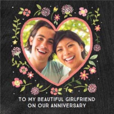 Chalkboard Photo Upload Anniversary Card for my Beautiful Girlfriend