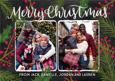 Chalkboard Photo Upload Christmas Card For Friends