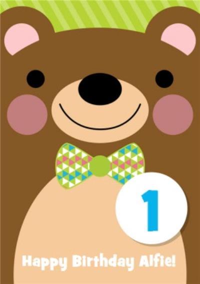 Cartoon Smiley Bear Personalised Happy 1st Birthday Card