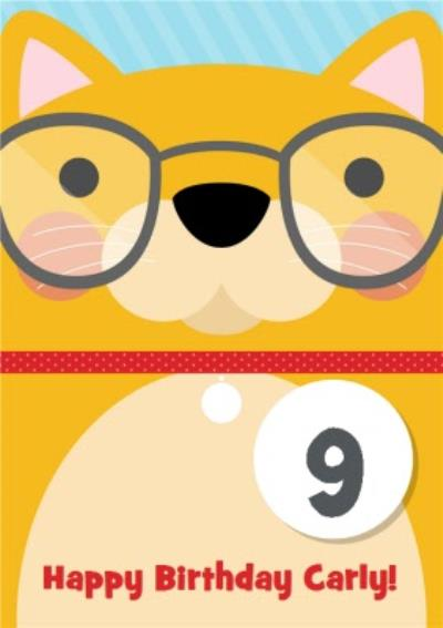 Cartoon Cat With Glasses Personalised Happy 9th Birthday Card