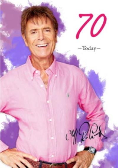 Photographic Cliff Richard Birthday Card -  70  Today