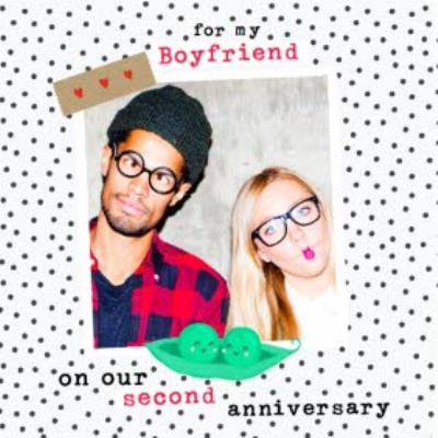 Two Peas In A Pod Polka Dot Photo Upload Anniversary Card