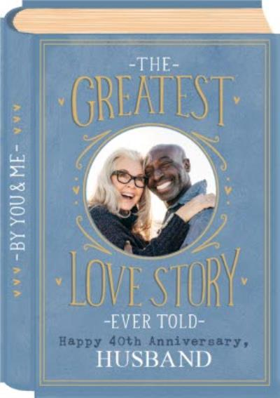 Love Story Book Cover Illustration Photo Upload Anniversary Card