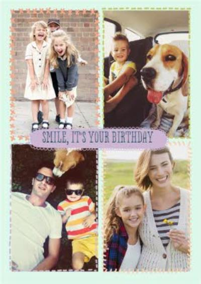 Stitched Together Personalised Photo Upload Happy Birthday Card