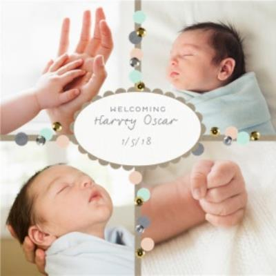 Welcoming The Little One With Date Personalised Photo Upload New Baby Card