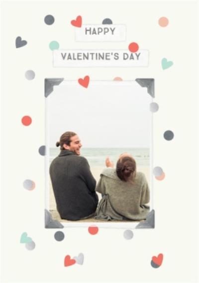 Heart Polka Dots Happy Valentines Day Photo Card