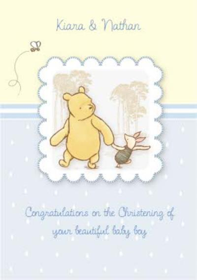 Disney Winnie The Pooh And Piglet Personalised Christening Card