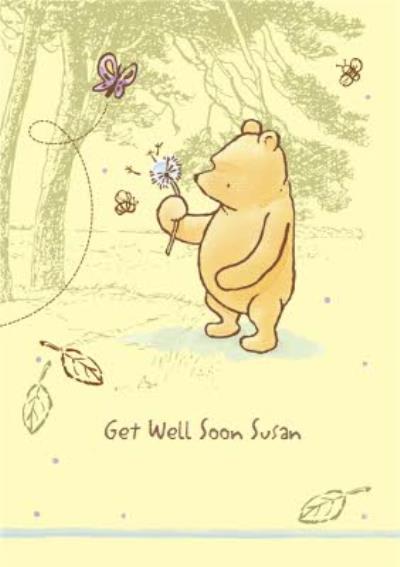 Disney Classic Winnie The Pooh Dandelion Personalised Get Well Soon Card