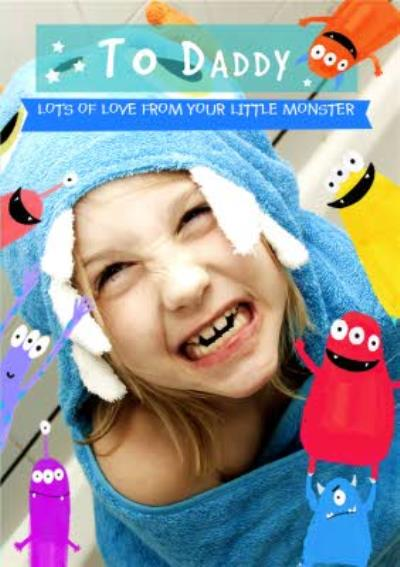 Cartoon Monsters Photo Upload Fathers Card