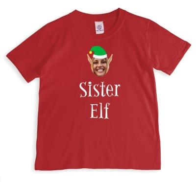 Elf Themed Sister Elf Photo Upload Red T Shirt