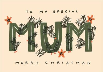To My Special Mum Merry Christmas Typographic Card