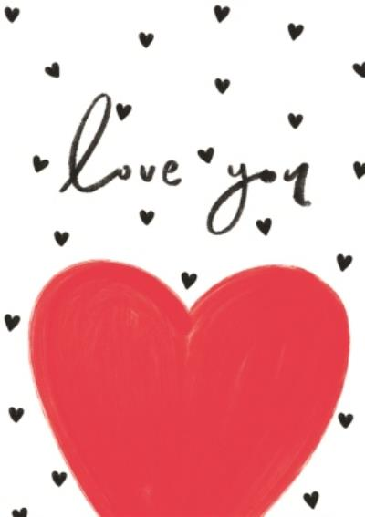 Love You Black and Red Hearts Card