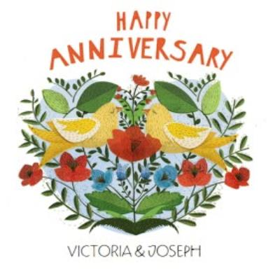 Kissing Birds Personalised Happy Anniversary Card