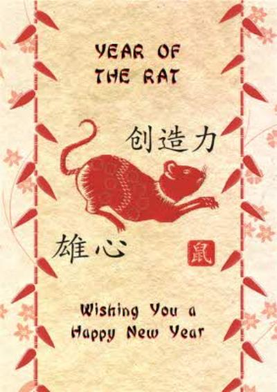 Zodiac Card Year Of The Rat Personalised Happy Chinese New Year Card