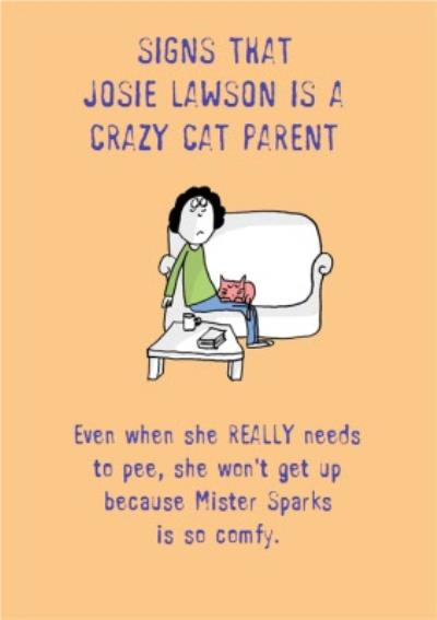 Funny Personalised Name Is A Crazy Cat Parent Card