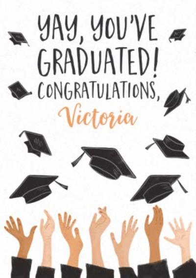 Illustrated mortarboards being thrown in the air. Yay, you've graduated card