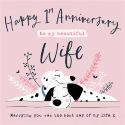 Disney 101 Dalmatians 1st Anniversary Card for Wife