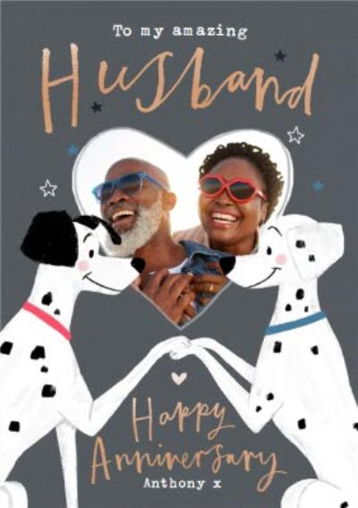 Disney 101 Dalmatians Photo Upload Anniversary Card for Husband