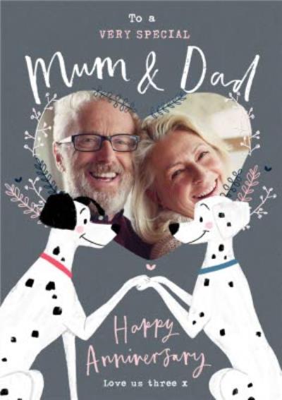 Disney 101 Dalmatians Photo Upload Anniversary Card for Mum and Dad