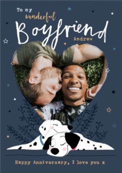 Disney 101 Dalmatians Anniversary Photo Upload Card for Boyfriend